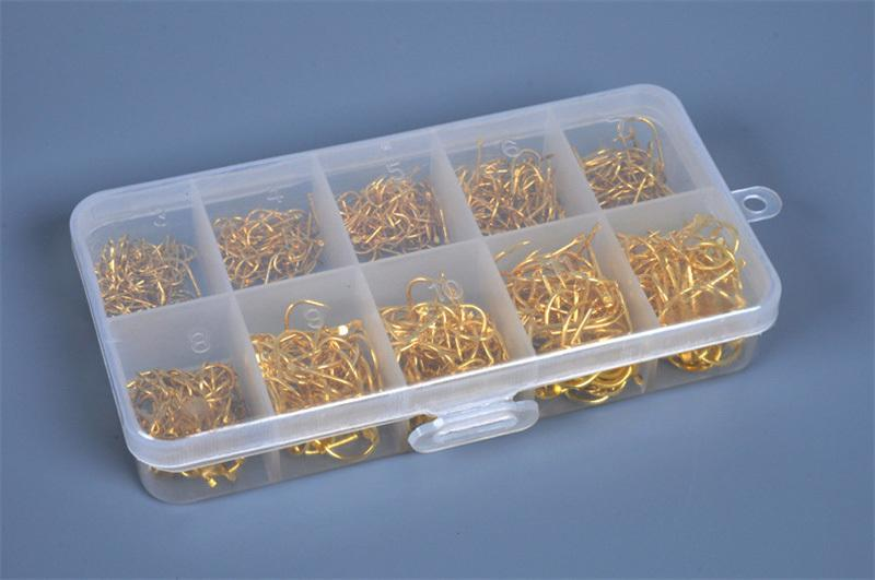 LEO 500pcs/box Multiple Sizes Golden Fishing Hooks Anti-corrosion Flat Head Barbed