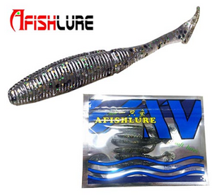AFISHLURE 6pcs/lot T Tail Soft Worm 3.2g 75mm Paddle wobbler fishing lure for bass Fishing Bait Grub Swimbait