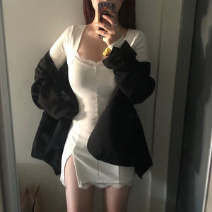 2020 Autumn Spring Women Sexy Lace Patchwork Long Sleeve Split Dress Hip Package Mini Vestido Party Club Low Chest Outfits Cloth