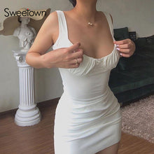 Load image into Gallery viewer, Sweetown Sold Ruched Summer dresses For Women Party Clubwear Outfits Off Shoulder strapless Sexy Mini dress Bodycon Vestidos