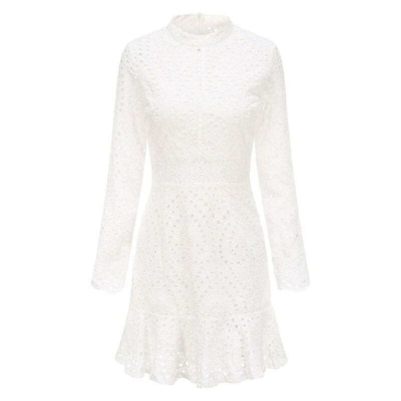 Elegant White Lace Embroidery Mini Party Dress Long Sleeve Ruffle Hollow Out Office Dress Vintage Slim Short Formal Dresses