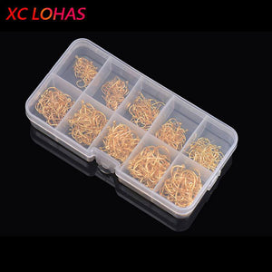 LEO 600PCS/BOX High Carbon Steel Fishing Hooks Sharp Barbed Circle   3#-12#