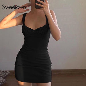 Sweetown Sold Ruched Summer dresses For Women Party Clubwear Outfits Off Shoulder strapless Sexy Mini dress Bodycon Vestidos