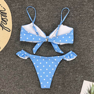 Womens Dot Print Bikini Push-up Swimwear Bathing Suit