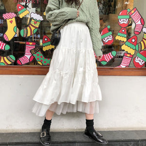 2021 Autumn And Winter Women Boho Long Skirt High Waist Ruffles White Beach Skirts Pink Jupe Femme Tulle Skirt Saia Midi Faldas