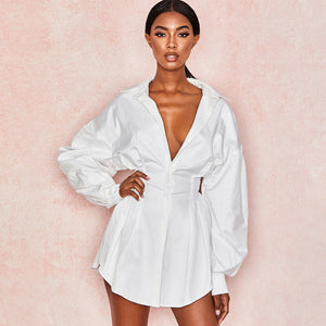 Women Sexy V neck Long Shirts Female Ladies Long Sleeve Shirt Beach Dresses Elegant Sexy Party Blouse