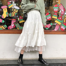 Load image into Gallery viewer, 2021 Autumn And Winter Women Boho Long Skirt High Waist Ruffles White Beach Skirts Pink Jupe Femme Tulle Skirt Saia Midi Faldas