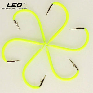 LEO 100pcs Color Painted Fishing Hook 8# 10# 12# Fluorescent Colorful Carbon Steel Night