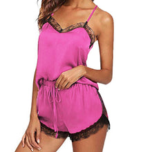 Load image into Gallery viewer, Pajama Set Sleeveless Strap Lace Trim Satin Cami Top