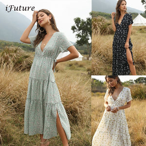 2020 Summer Beach Holiday Dress Women Casual Floral Print Elegant  Boho Long Dress Ruffle Short-Sleeve V-neck Sexy Party Robe