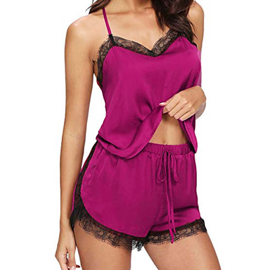 Pajama Set Sleeveless Strap Lace Trim Satin Cami Top
