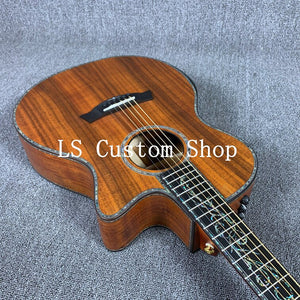 Handmade 39'' Cut a way Top Quality Full Solid Koa Top & back side  Acoustic Guitar Bone Nut & Saddles Grover Tuner Ebony Fingerboard