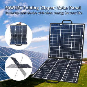 50W 18V Portable Solar Panel, Flashfish Foldable Solar Charger