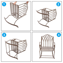 Load image into Gallery viewer, Outdoor Rocking Chair Black Wrought Iron Porch Patio Rocker Metal Extra Wide