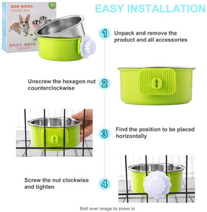 Hanging Stainless Steel Water Bowl for Dogs, Cats, Birds And Small Animals