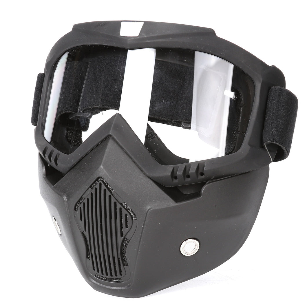 Motorcycle Tactical Face Mask Motorcross Open Face Detachable Goggle Helmet Vintage Glasses Dust-anti Airsoft Hunting Accessory