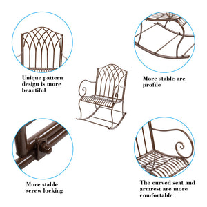 Outdoor Rocking Chair Black Wrought Iron Porch Patio Rocker Metal Extra Wide