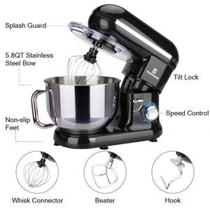 5.8QT 6 Speed Control Electric Stand Mixer with Stainless Steel Mixing Bowl