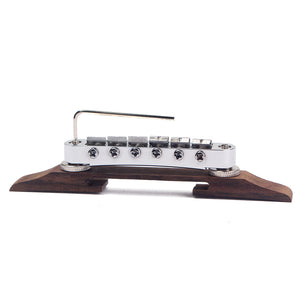 Tune-O-Matic Jazz Guitar Bridge Chrome Metal & Rosewood Base for 6 Strings Guitar Parts & Accessories