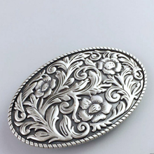 Load image into Gallery viewer, Western Cowboy Zinc Alloy Leather Belt Buckle Flower Oval Pattern