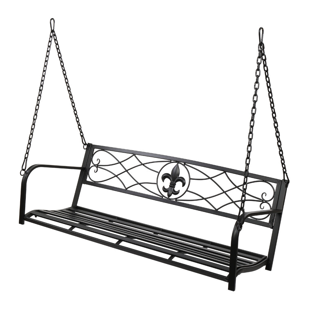 Metal Porch Swing, Heavy Duty Steel Patio Porch Swing Chair for Outdoors, Weather Resistant Swing Chair Bench
