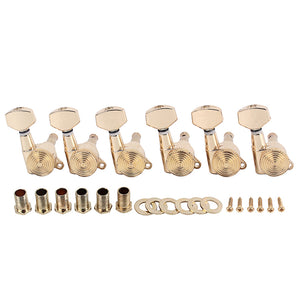 A Set 6 Pcs Gold Locked String Tuning Pegs key Tuners Machine Heads For Acoustic Electric Guitar Lock Schaller Style