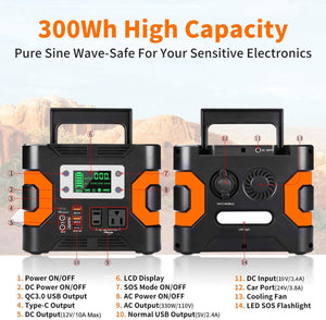 330W Portable Power Station, Solar Generator  Backup Battery Emergency Power Supply with 110V AC Outlets,  for Camping