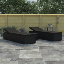 Load image into Gallery viewer, 3 Piece Garden Sun Lounger Set Poly Rattan Black