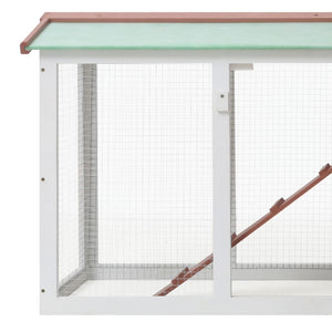 "Outdoor Large Rabbit/Chicken Hutch Brown and White 57.1""x17.7""x33.5"" Wood"