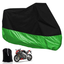 Load image into Gallery viewer, Motorcycle covered throughout the season outdoor waterproof precision protection bike, outdoor waterproof, debris, dust cover, all weather applicable (XXLC, black and green)