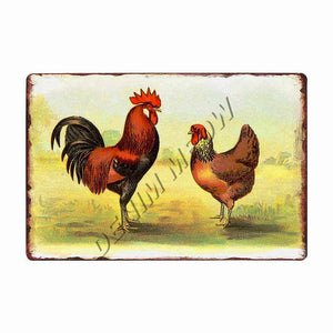 Happy Chickens Lay More Eggs Metal Sign