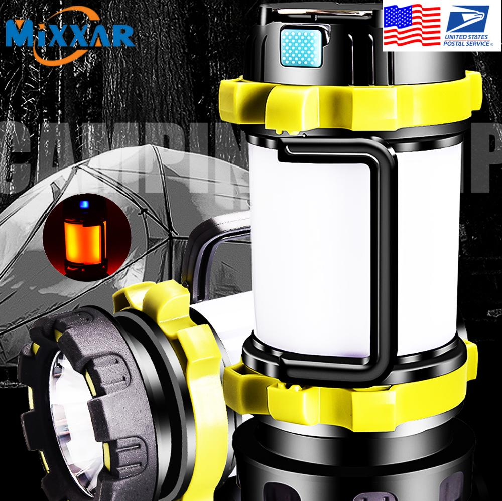 Portable LED Camping Lantern USB Rechargeable Port and Spotlight