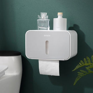 Waterproof Wall Mounted Toilet Paper Holder with Shelf and Storage Box - EL Cheapos Stuff