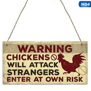 Wooden Hanging Chicken Signs