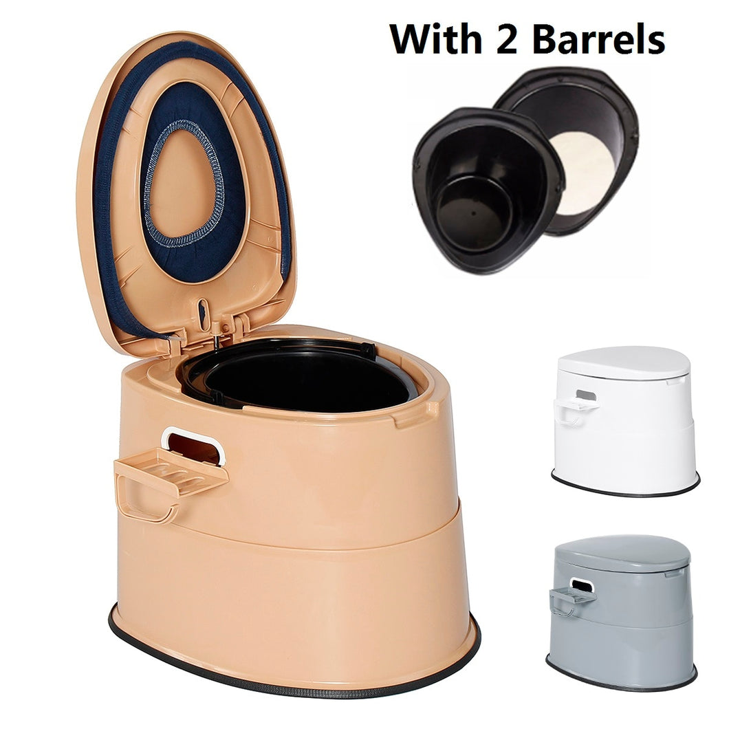 Portable Toilet  Stool with Bedpan & Paper Roll Holder