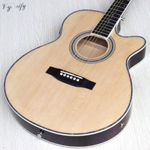 Load image into Gallery viewer, Thin body acoustic-electric beginner guitar with free case free string black natural sunburst white color