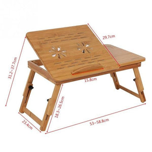 1Pc Adjustable Bamboo Desk Shelf for your laptop with stand Two Flowers Book Reading - EL Cheapos Stuff
