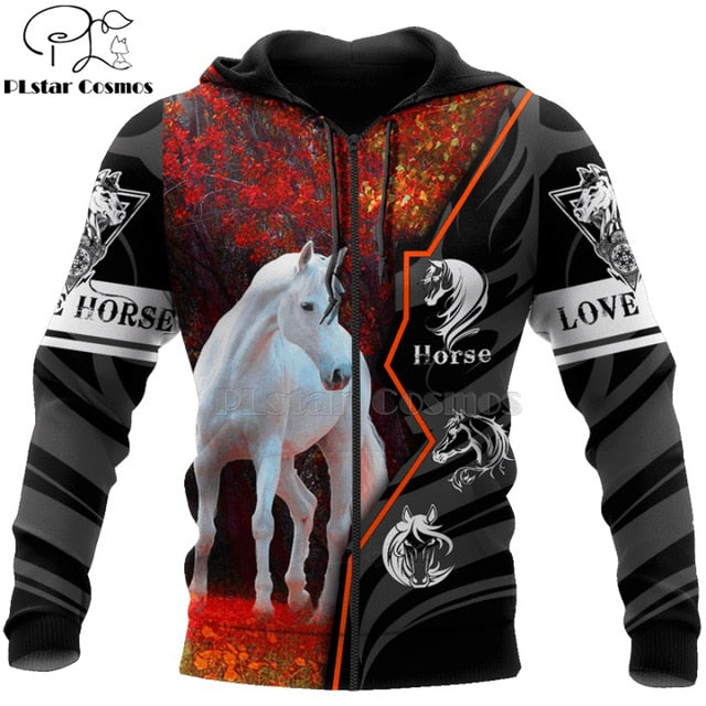 Men Or Women Beautiful Horse Racing Limited Edition 3d Zipper Hoodies, Long Sleeve Sweatshirt, Jacket Pullover