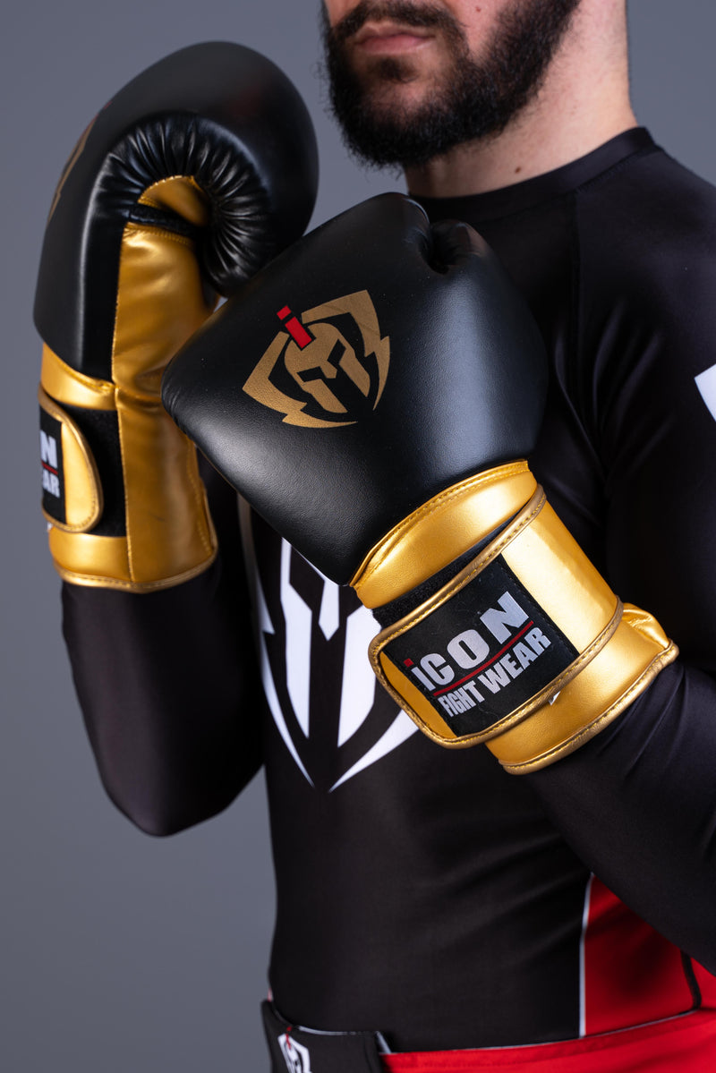 ICON Boxing Gloves Black/Gold 16oz
