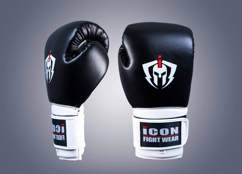 ICON Boxing Gloves Black/White 16oz