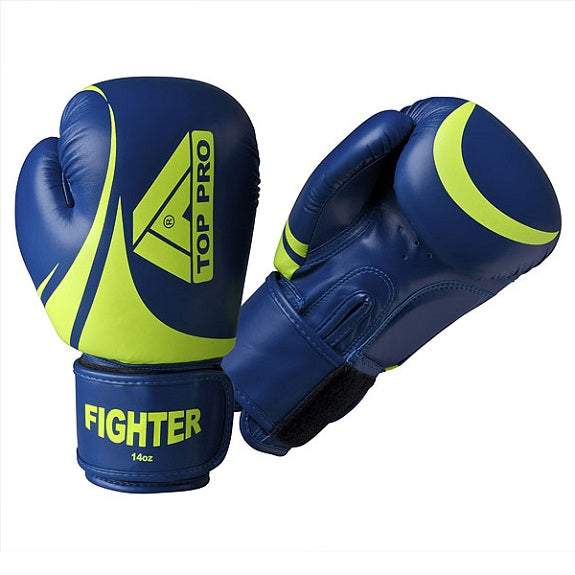 Top Pro Fighter Gloves Blue & Volt Yellow