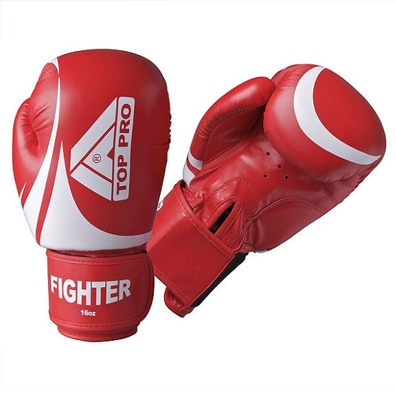 Top Pro Fighter Gloves Red & White 16oz