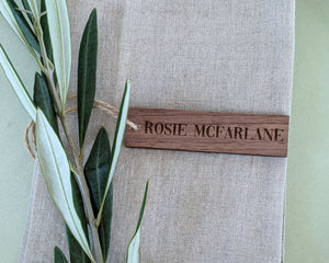 Personalized Wood Place Cards in Walnut Shade