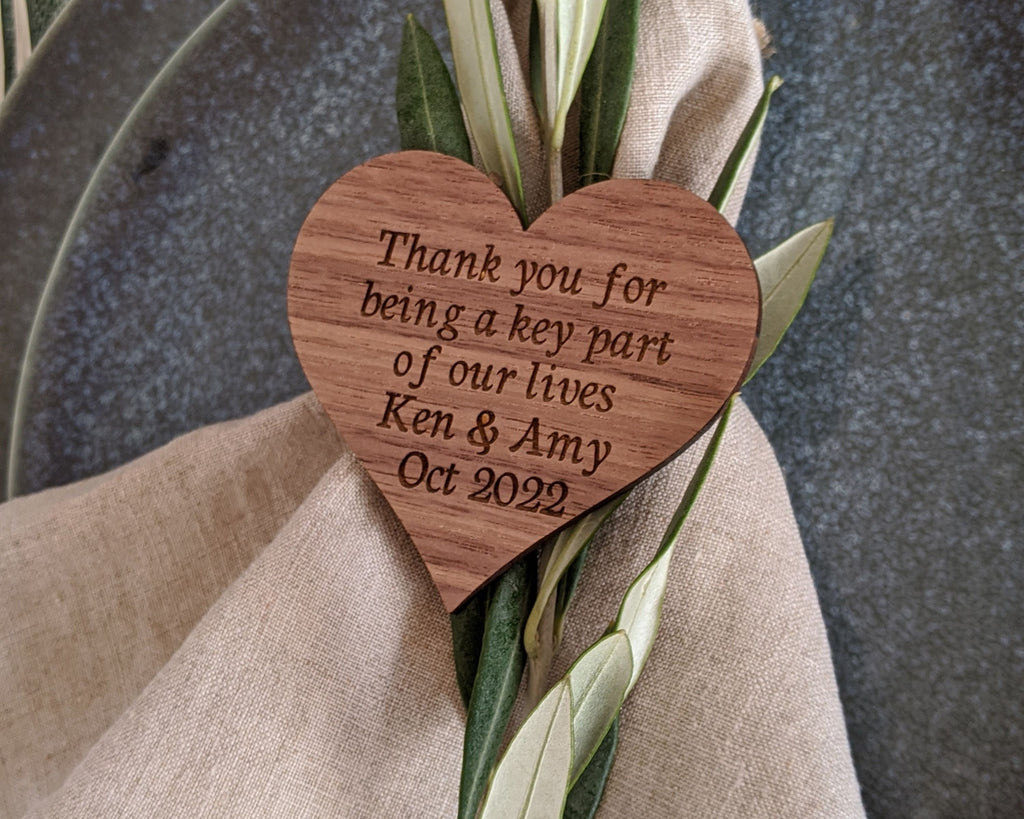 Wood Napkin Tags Custom for Rustic Wedding