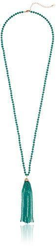Anne Klein Women's Gold Turquoise 32in Tassel Strand Necklace, One Size