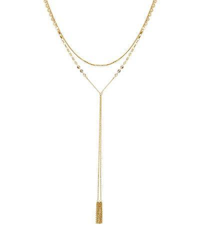 RACHEL Rachel Roy 2 Row Round Y Shaped Long Chain Necklace for Women Fashion Jewelry