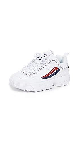 Fila Women's Disruptor II Premium Repeat Sneakers, White Navy Red, 8 Medium US