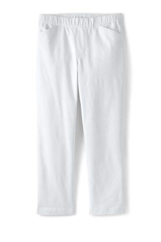 Lands' End Womens Mid Rise Pull On Chino Crop Pants White Plus 24w