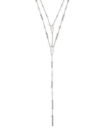 Kendra Scott Adelia Y Necklace for Women, Dainty Fashion Jewelry, Bright Silver-Plated