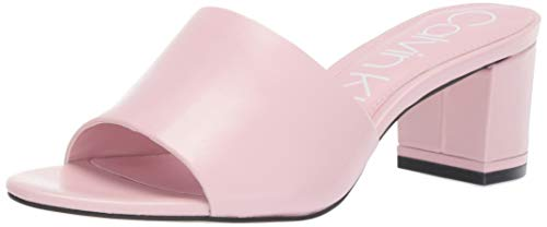 Calvin Klein Women's NEOLLY Heeled Sandal, Pastel Pink Leather, 8 M US